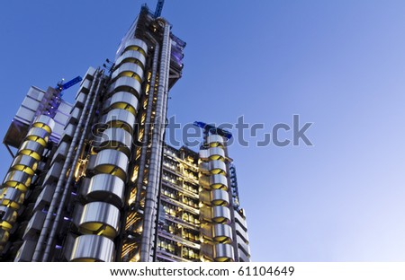 The Lloyd's Building (also known as The Inside-Out Building) with copy space.