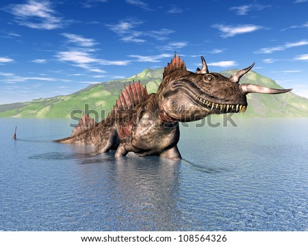 The Loch Ness Monster Computer generated 3D illustration