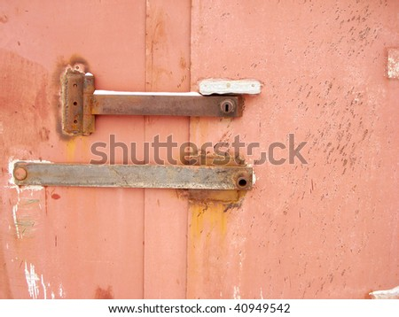 The lock at a metal door