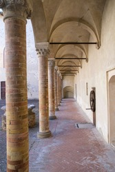 The lodge in Honour Court of Torrechiara Castle in Langhirano, Parma, Italy. High quality photo