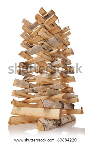 The logs of fire wood isolated on white