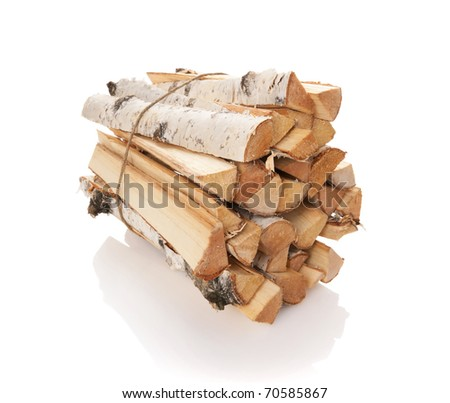 The logs of fire wood isolated on white - stock photo
