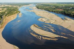 The Loire River and sandbanks seen from the sky at Montsoreau, Loire-Anjou-Touraine Regional Natural Park, France