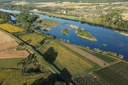 The Loire valley seen from the sky at Saint-Dyé-sur-Loire , Loir-et-Cher department (41), Centre-Val de Loire region, France