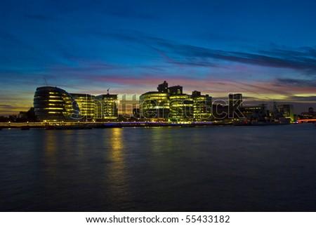 The London city hall at autumn twilight