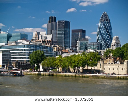 The London England skyline with its ever diverse architecture.