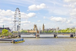 The London Eye, Thames river and the Big Ben