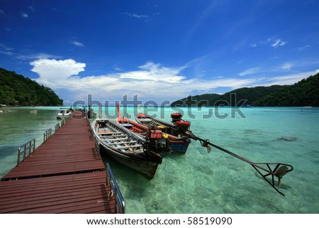 The long-tail boat at surin island, thailand