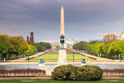 The long view of the National Mall from the US Capitol Building toward the Ulysses S Grant Memorial and  the Washington Monument in the District of Columbia.