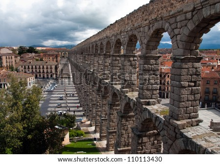 stock photo : The longest Roman aqueduct, preserved in Western Europe.
