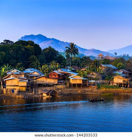 The longest wooden bridge and floating Town in Sangklaburi Kanchanaburi Thailand