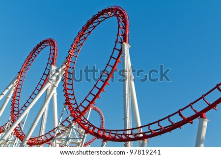 The loops of a scaring roller coaster.