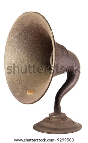 The loudspeaker horn from an early, exposed tube, shelf type  radio set.