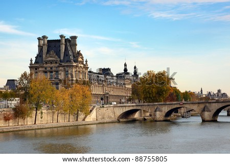The Louvre across the Seine River in Paris France
