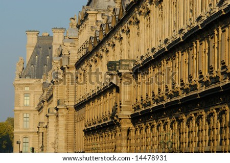 The Louvre facade in golden  morning light, Paris