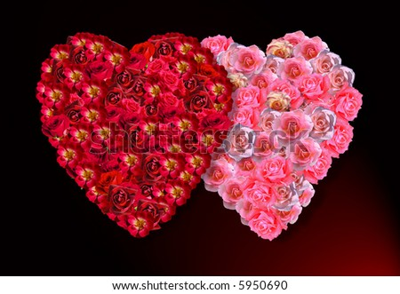 images of roses and hearts. stock photo : The love, hearts