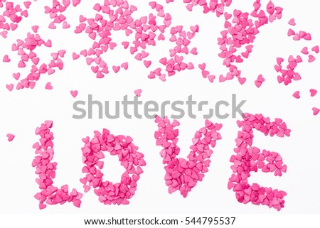 """the """"love"""" of many small hearts on a white background. Festive background for Valentine's day, birthday, wedding, holiday #544795537"""