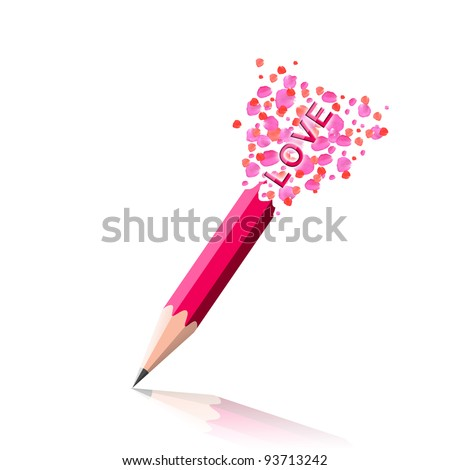 "The love word ""love"" idea with pink pencil and rose petals design on white background. - stock photo"