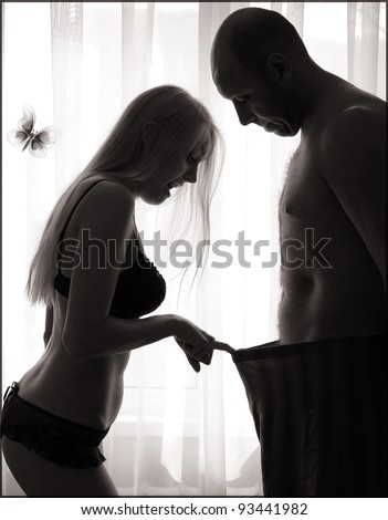 The loving couple learns each other before sex - stock photo