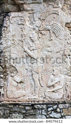 The low relief on the ruins in the Palenque, Mexico