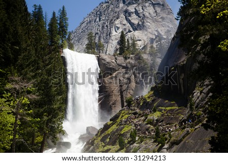 The lower falls of Vernal Falls in Yosemite National Park