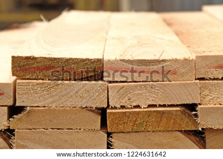 The lumber warehouse of finished products for large-scale construction plan edged