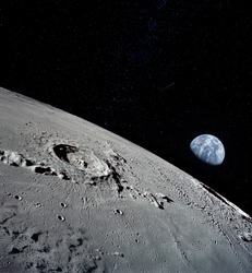 The lunar surface, taken from a corner, with the preserved footprints of the astronauts who have been there as evidence of the presence of a person. Elements of this image furnished by NASA.