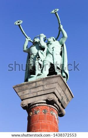The lur blowers statue near the city hall in Copenhagen, Denmark