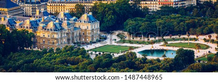 The Luxembourg Palace in The Jardin du Luxembourg or Luxembourg Gardens in Paris, France. Luxembourg Palace was originally built (1615-1645) to be the royal residence of the regent Marie de Medici. #1487448965