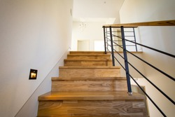 The luxury of wooden stairs in the house