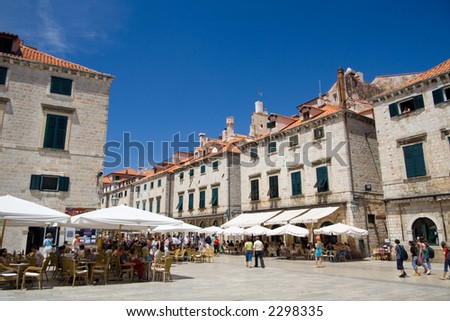 The Luza is the main city square in the Croat city of Dubrovnik. Editorial use only.