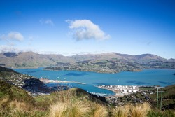 The Lyttelton Port and Harbour from the Christchurch Gondola Station at the top of the Port Hills, Christchurch, Canterbury, New Zealand