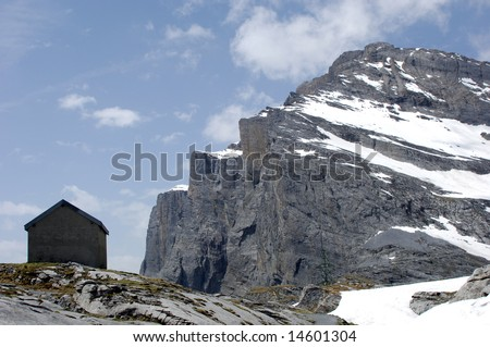The 2300 m Gemmi Pass is a famous mountain pass in the Swiss Alps