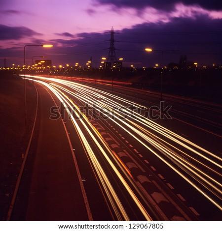 the M6 motorway, birmingham at night