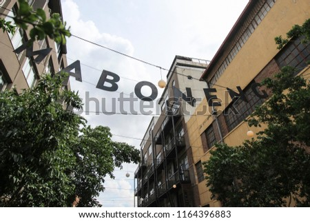 The Maboneng area street sign in Johannesburg. South Africa's hippest areas. Stock fotó ©