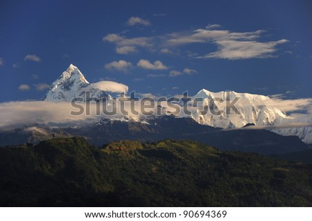 The Machapuchare peak (6993m), view from Pokhara, Nepal