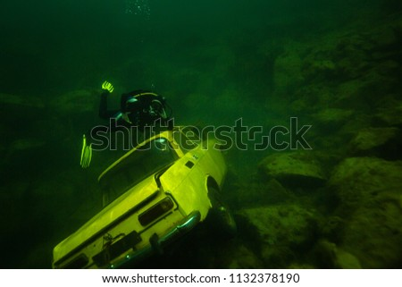 The machine is submerged at the bottom of the lake #1132378190
