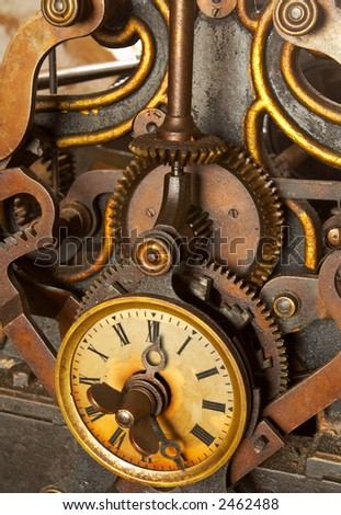 The machinery of old and dirty clock. Shallow DOF #2462488