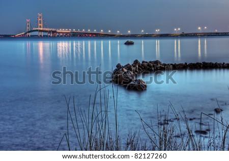 The Mackinac Bridge from Straits State Park - stock photo