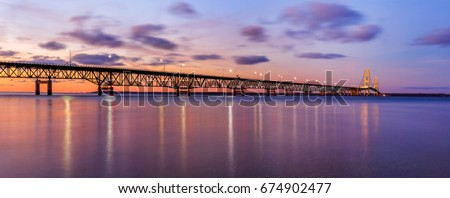 The Mackinac Bridge over the Straits of Mackinac at dusk, connecting the upper and lower peninsulas of Michigan, USA