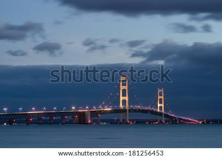 The Mackinaw Bridge, Between Michigan's Upper And Lower Peninsulas At Night