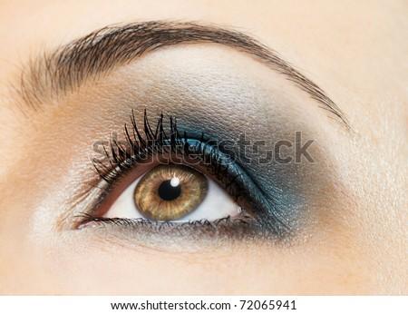 the macro image of the beauty eye