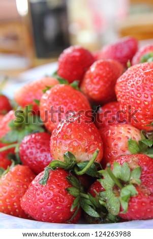 The macro raw fresh  strawberries  from  natural