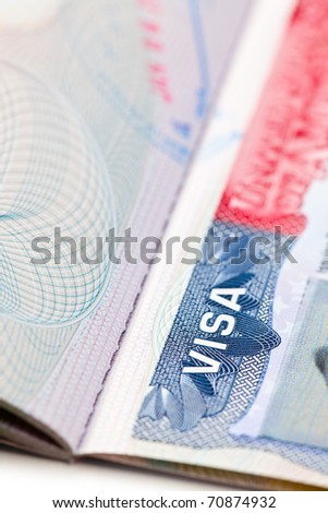 the macro shot of a U.S. visa on passport page