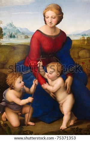 The Madonna of the Meadow, painting created by the famous renaissance artist Raphael (1483-1520) in 1505.