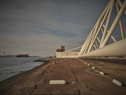 The 'Maeslantkering' storm surge barrier covering the Nieuwe Waterweg from floods from the North Sea.