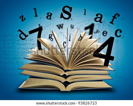 The Magic Book and the letters, numbers on a dark background with formula. Education concept