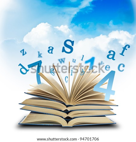 The Magic Book and the letters on a sky background. Education concep ...
