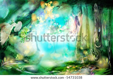 stock photo the magic forest with fairies excellent fantastic background very abstractly 54731038 - Каталог — Фотообои «Для детской»