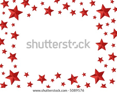 The magic frame - Red stars isolated on a white background